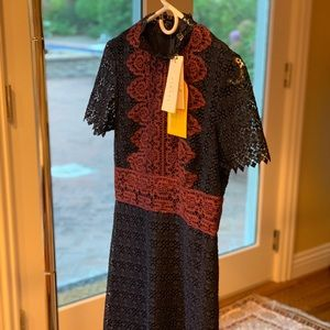 Sandro Lace Dress Navy Color